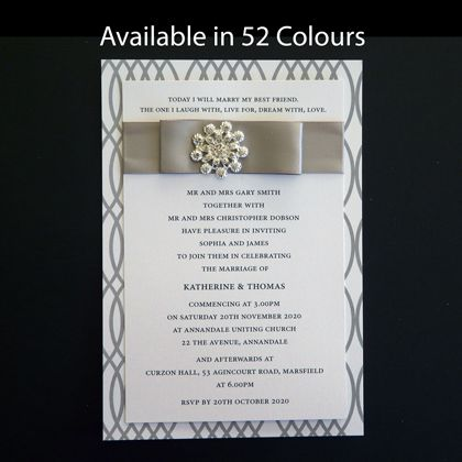 This postcard size wedding invitation design is supplied as a kit. The card is printed and cut to size. It just needs assembly. Available in more than 50 colours.www.kardella.com