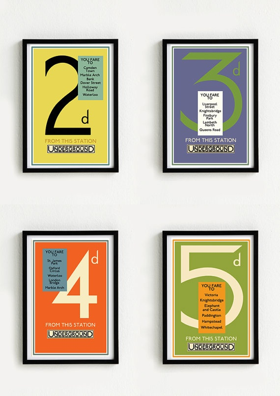 Four Vintage poster LONDON UNDERGROUND 116 x 164 A3 by Signarama, $45.00