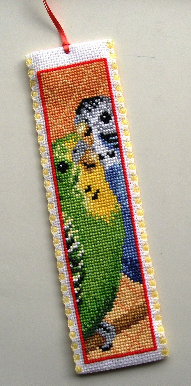 Cross Stitched Blue, Green & Yellow Budgies/Budgerigars Bookmark. by TillyandMuffinToo on Etsy https://www.etsy.com/listing/190701412/cross-stitched-blue-green-yellow