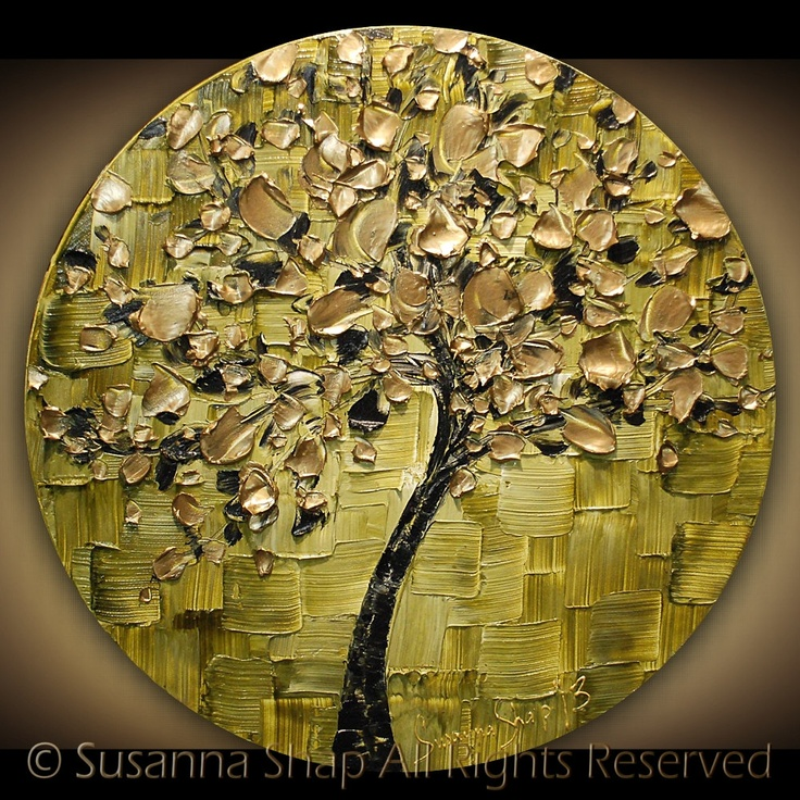 ORIGINAL Contemporary Ombre Olive Green Gold Tree Painting Abstract Textured Modern Art by Susanna.