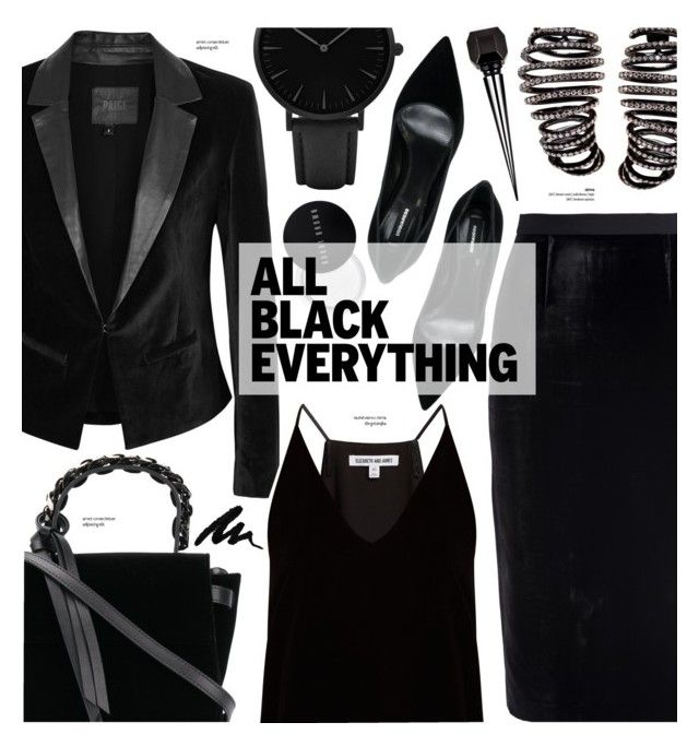 """""""Velvet - Monochrome black"""" by cly88 ❤ liked on Polyvore featuring Paige Denim, Roland Mouret, Elizabeth and James, Dsquared2, Bobbi Brown Cosmetics, Plukka, Elena Ghisellini, CLUSE and Christian Louboutin"""