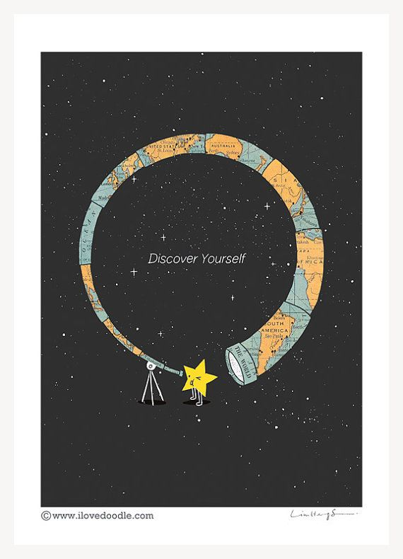 """""""Discover Yourself""""  Art Print by ilovedoodle on Etsy"""