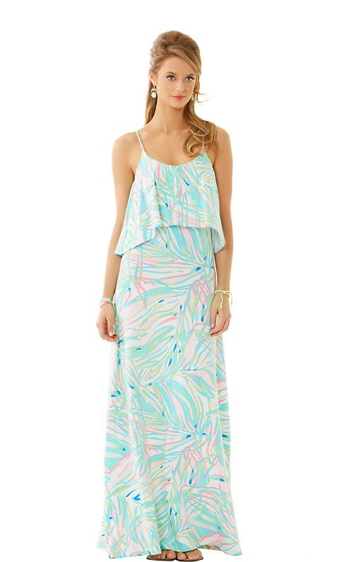 The Harrington Maxi Dress is a printed spaghetti strap maxi dress with a flounce bodice. This is the perfect maxi for a beach wedding or party. It is flattering and chic on so many body types.