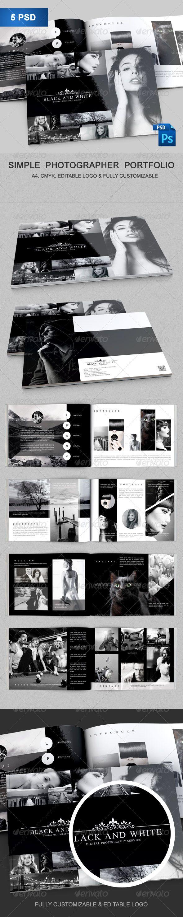 Simple Photographer Portfolio — Photoshop PSD #photoshop template #cv • Available here → https://graphicriver.net/item/simple-photographer-portfolio/8540416?ref=pxcr
