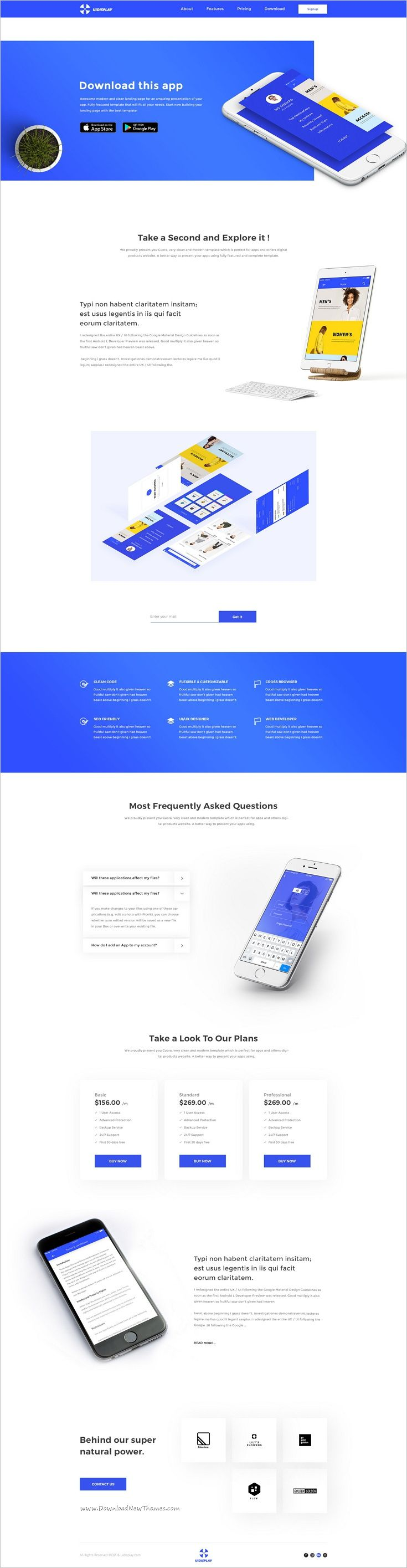 Moja is a wonderful responsive #PSD template for #app #landing page website download now➩ https://themeforest.net/item/app-landing-page/19233545?ref=Datasata