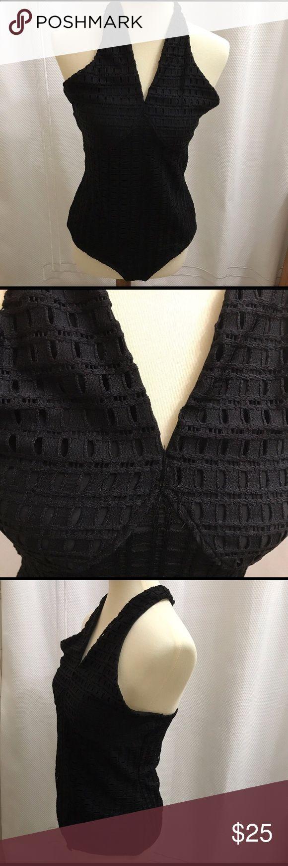 Guess Textured Halter Bodysuit - Black. Guess Textured Halter Bodysuit - Black. Guess Tops