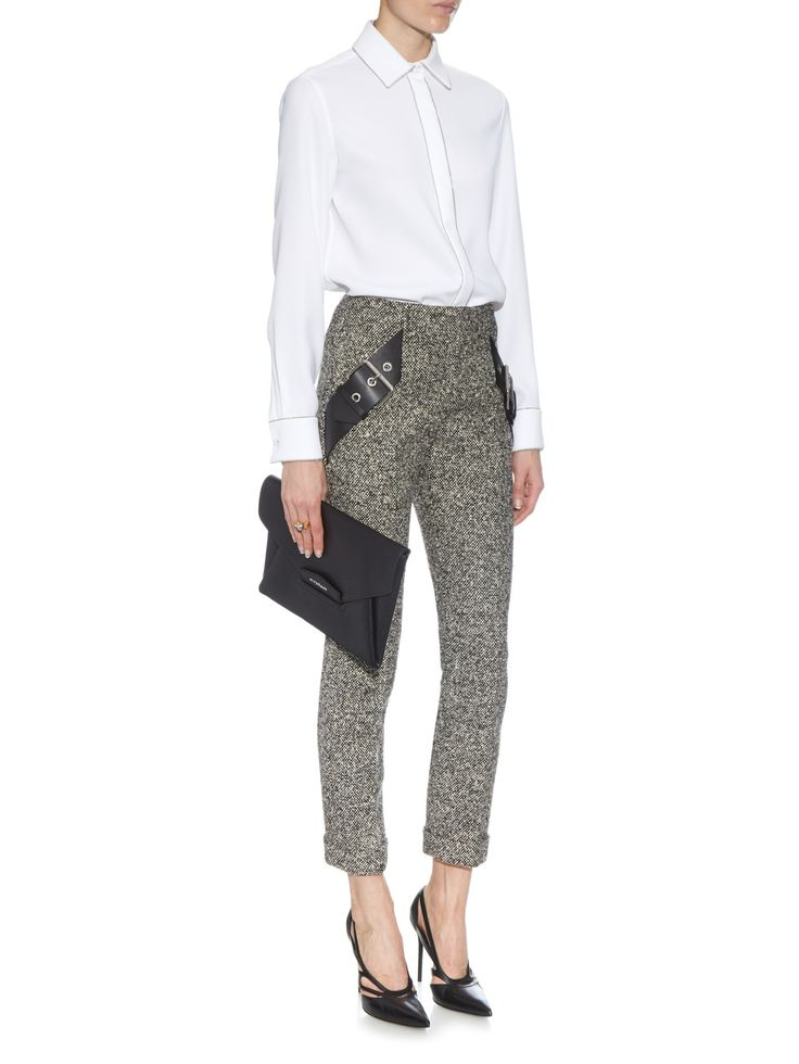 Belt-detail tweed trousers | Balenciaga | MATCHESFASHION.COM