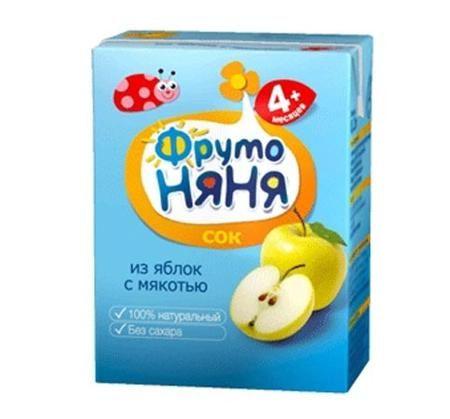ФрутоНяня Сок из яблок с мякотью с 4 мес., 200 мл (тетра пак)  — 30р.   ФрутоНяня Сок из яблок с мякотью с 4 мес., 200 мл (тетра пак)  Сок изготовлен из яблок зеленых сортов, что существенно снижает риск возникновения аллергии у детей. Содержит огромное количество полезных веществ, прежде всего витамина С и пектинов.  Яблоко содержит огромное полезных веществ, прежде всего витамина С и пектинов. Усиливает кроветворение, выводит камни из почек, очищает организм от токсинов, снижает уровень…