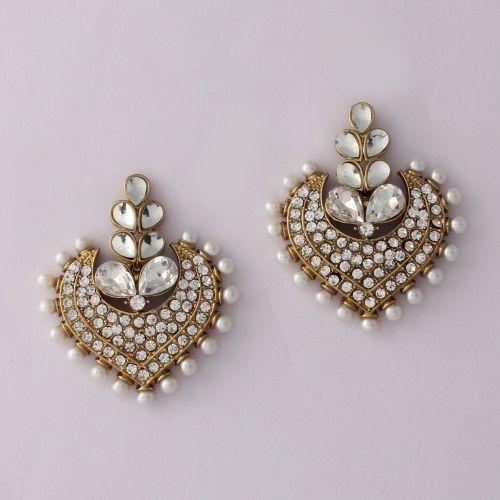 White Stone Diamond Pearl Heart Shpe Earring
