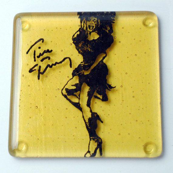Tina Turner-muzikant-zanger gesmolten glas Coaster door kikuhandmade