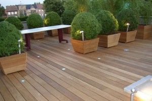 Kunst houten vlonders met eventueel spots om de tent en dakplantanen aan te lichten.