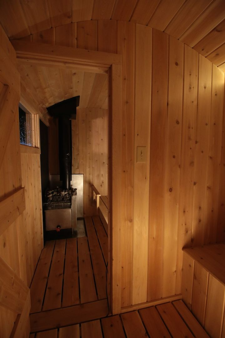interior of 6x10 foot mobile sauna with solar powered LED lighting by Rob Licht Custom Saunas