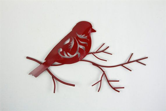 Wall Decor Metal Birds : Red bird on branch wall art metal decor rustic by
