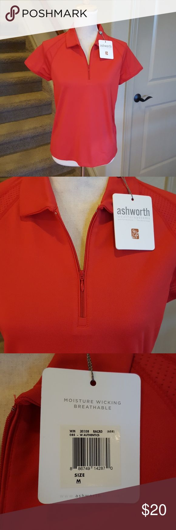 NWT Ashworth Golf SS Polo M Get ready for a great round of golf with this moisture wicking & breathable weather ready polo. Ashworth Tops Blouses