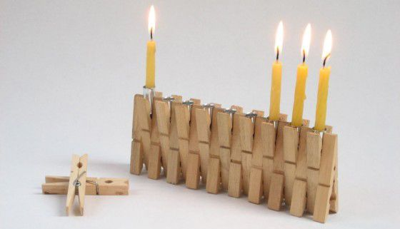 Clothespin Menorah - Great way to use old clothespins that have fallen apart.