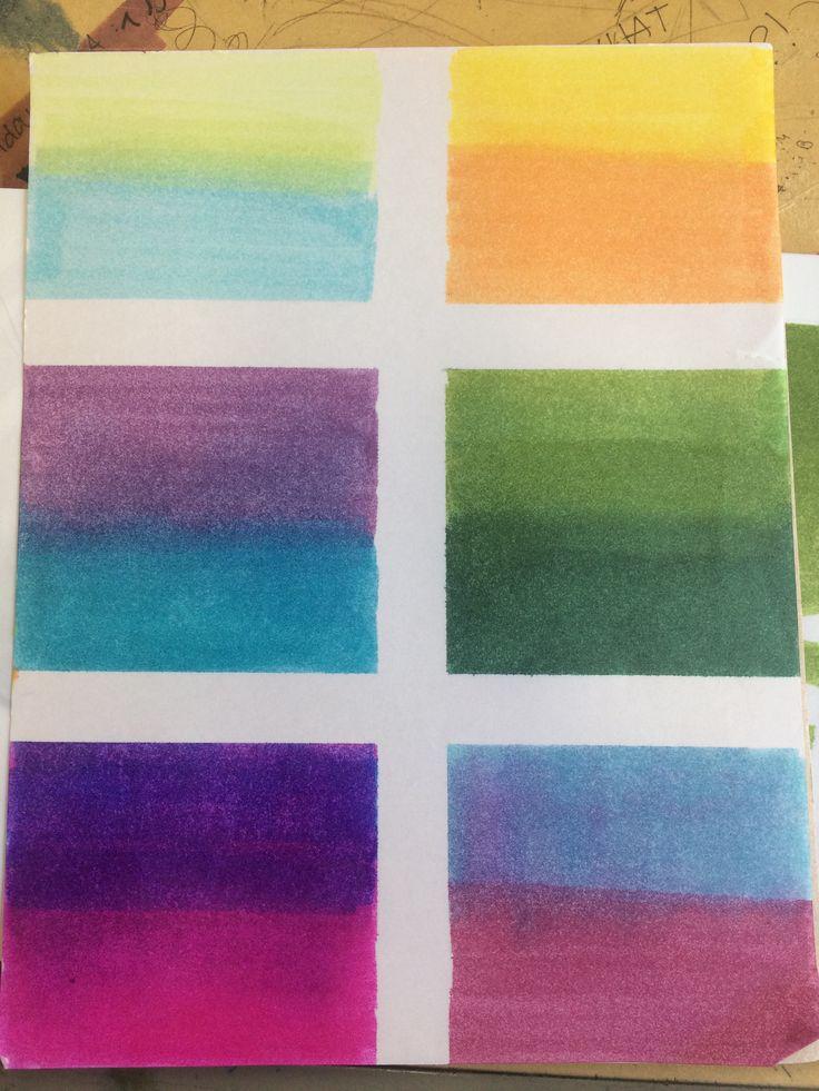 Difuminado entre diferentes colores. (Rotuladores)