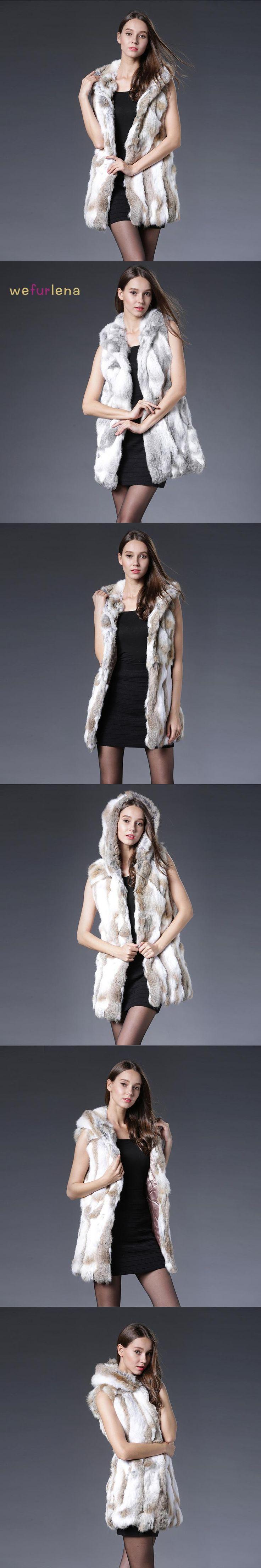 2017 New Genuine Rex Rabbit Fur Vest With Hooded Real Silm Rabbit Fur Waistcoats Winter Rabbit Fur Jacket Plus Size S-3XL