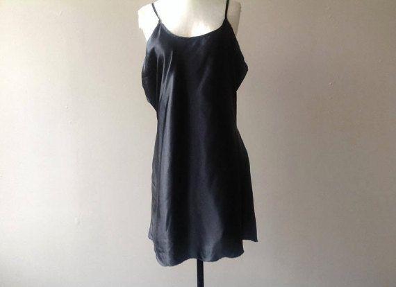 2X Plus Size Black Satin Slip Dress Lingerie / XXL / by LustNLux