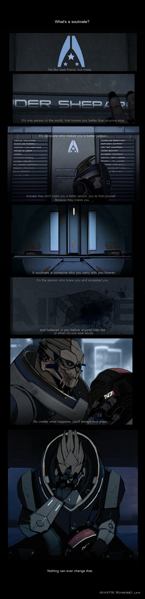 SOULMATE by ~Olivietta on deviantART I don't even ship shep/garrus, but this is beautiful, even from a best friend stand point.