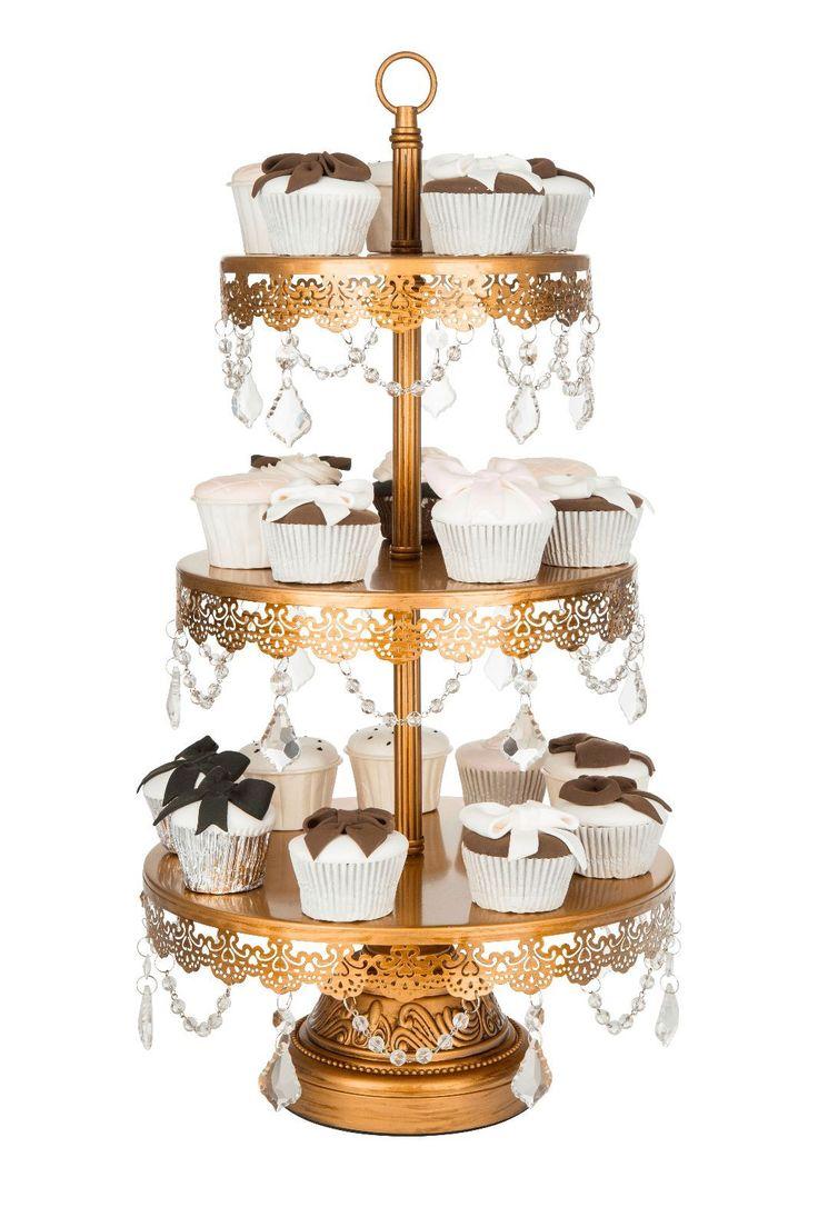 3 TIER CUPCAKE STAND Crystal Metal Round Wedding Display Antique Dessert Tower   eBay