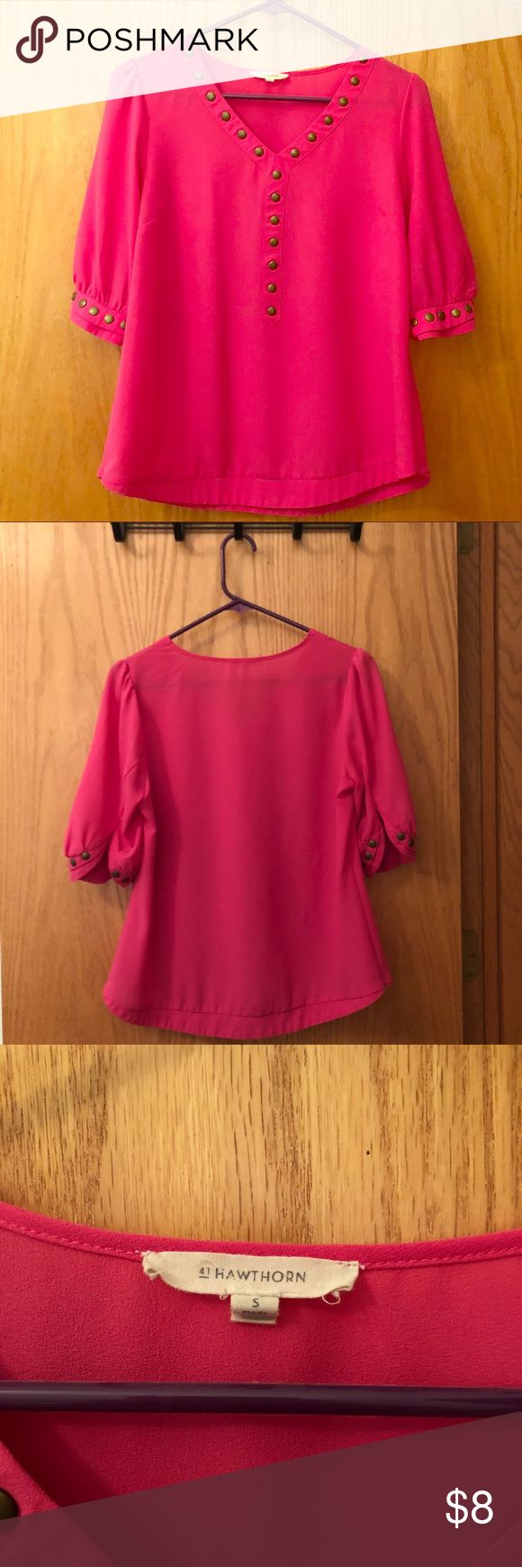 41 Hawthorn Fuchsia Blouse - Small - Flowy & Light Perfect spring blouse - Nice and loose with copper tack edging. Got this in a Stitch Fix a while back. The top is in great condition and ready for your spring wardrobe! 41 Hawthorn Tops Blouses