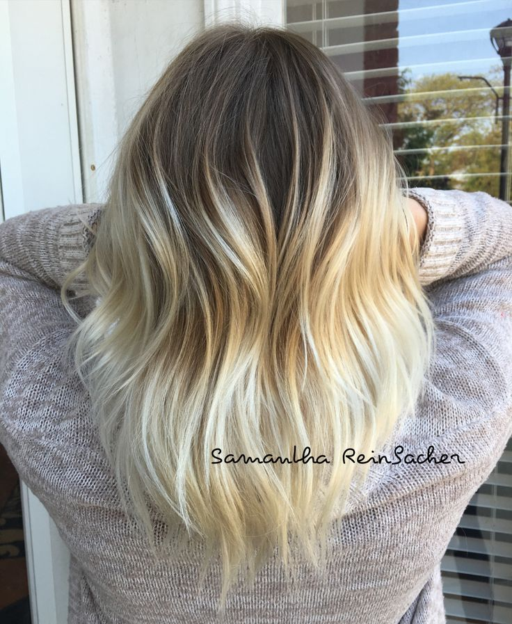 Platinum Balayage Sombre Ombre Dark Roots Blonde Ends