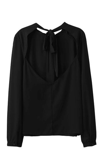 Black Chiffon Blouse with Open Back and Tie - US$13.95 -YOINS