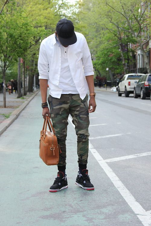 "Another cool outfit I found on Tumblr featuring the Air Jordan ""Bred"" 4."