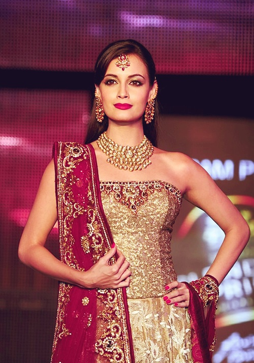 dia mirza-perfect makeup skintone jewelry toned arms outfit!