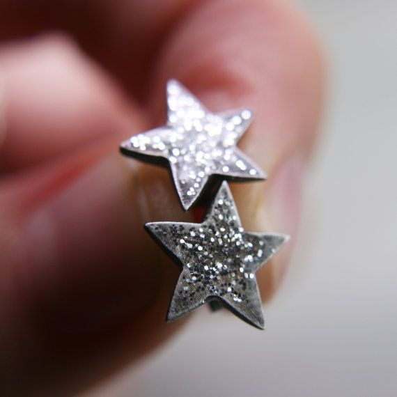 Oxidised fine silver star post earrings by tinygalaxies on Etsy.