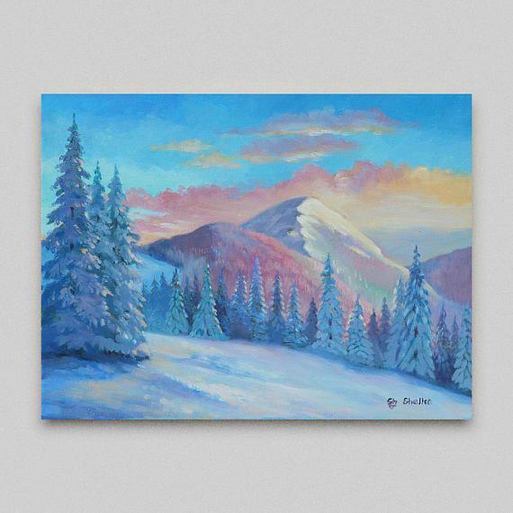Original artwork, #Winter_landscape,#Original_painting, #Snow_mountains, #Realism ,#buy_painting_online ,#Paintings_for_sale, #painting_mountain,
