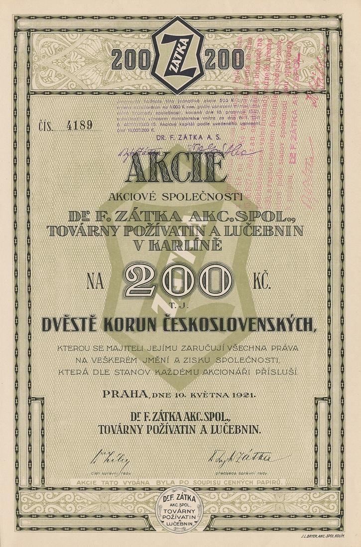 Dr. F. Zátka akc. spol., Továrny požívatin a lučebnin v Karlíně (Dr. F. Zatka, AG, Nahrungsmittel- und Chemikalienfabriken). Akcie na 200 Kč. Praha, 1921.