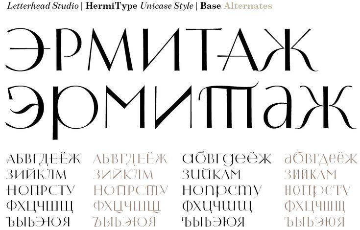 Letterhead | HermiType | Шрифт для вариативной акциденции. Содержит большое количество альтернативных знаков. Строчные и прописные знаки одного масштаба. Дизайн—Юрий Гордон.
