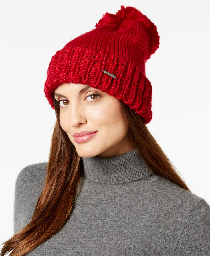 BCBGeneration Thick and Thin Pom Pom Beanie, Only at Macy's ...