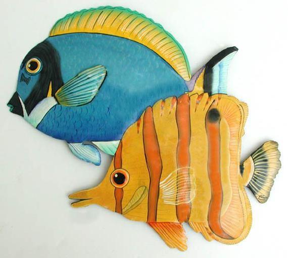 Tropical Fish Wall Hanging 14 Fish Painted Metal Art Etsy Tropical Fish Art Metal Fish Wall Art Fish Art