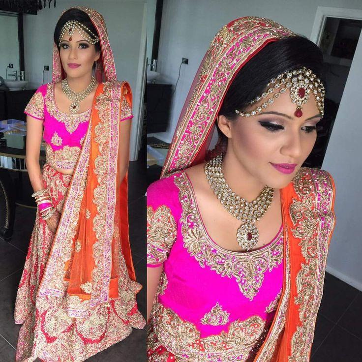 Bridal lehenga- pink blouse, red lehenga, red n orange dual dupatta