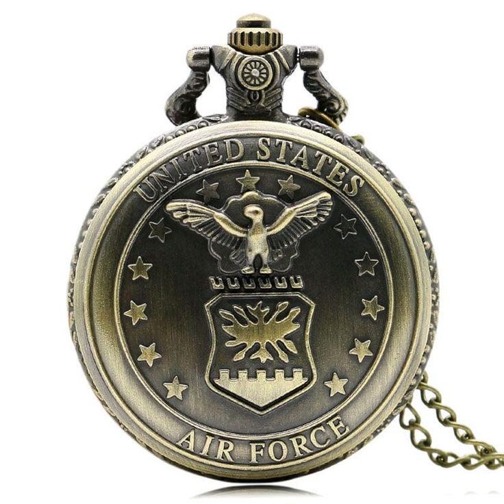 Vintage United State Air Force Quartz Pocket Watch Necklace Pendant Xmas Gift