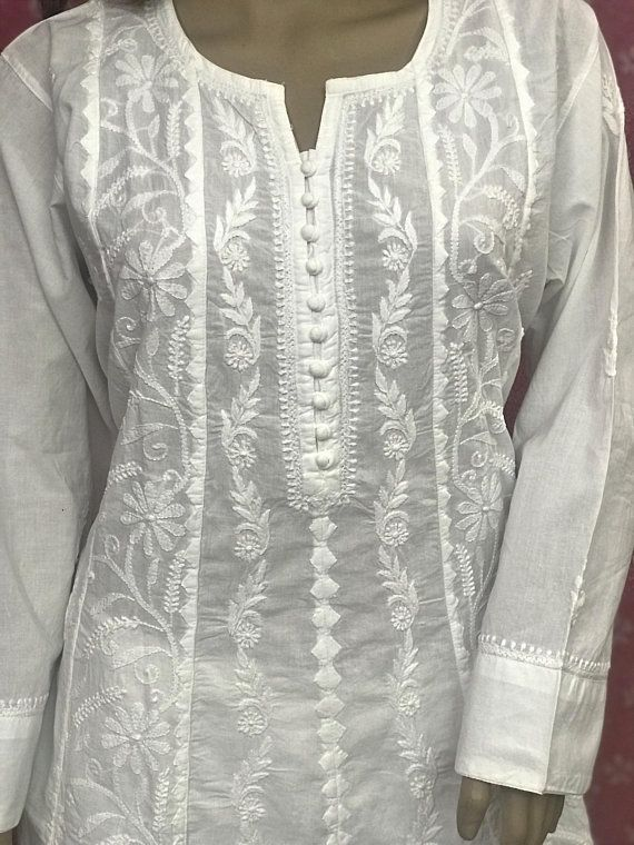 414ae676b8 Lucknow Chikankari with Applique Work White A Line Indian KURTI Hand Made  Ethnic Cotton TUNIC Kurta with beautiful Hand Embroidery in 2019 | Stuff to  buy ...