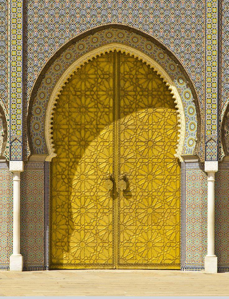 An intricate yellow doorway in Morocco #GrouponGetaways