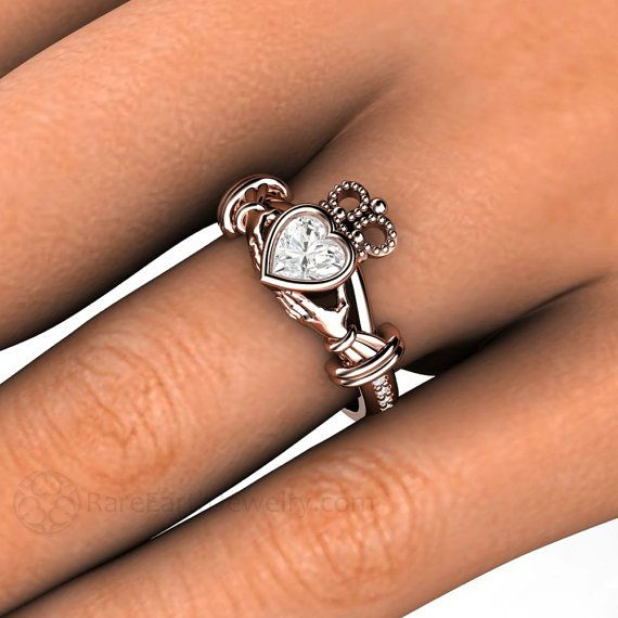 Claddagh Ring Moissanite Engagement Ring Irish by RareEarth