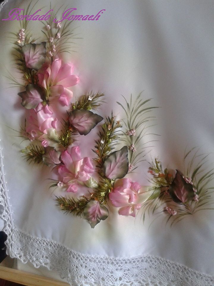 Ribbon Embroidery. Just beautiful.