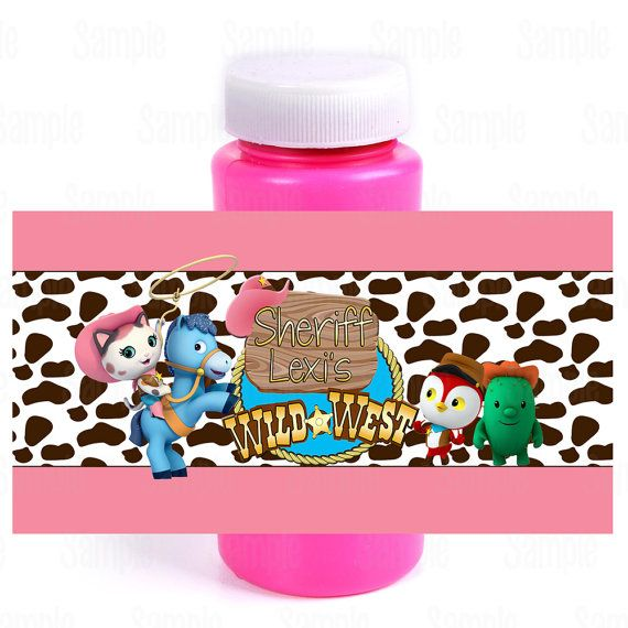 Printable Sheriff Callie's Wild West Birthday Party Bubble bottle labels on Etsy, $5.00