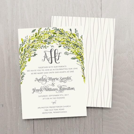 Arbor Love Custom Wedding Invitation Sample Set  by SmittenOnPaper