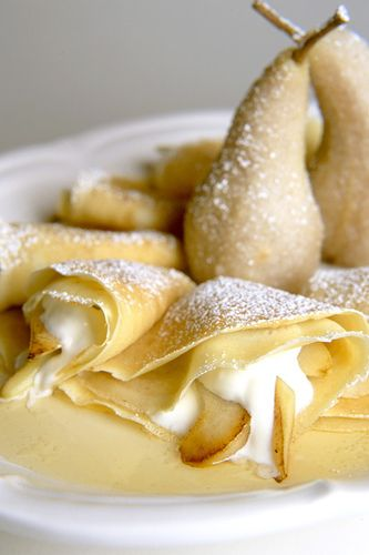 Pear & Cream Crepes! Use Crepini's naked crepes to cut back on time!