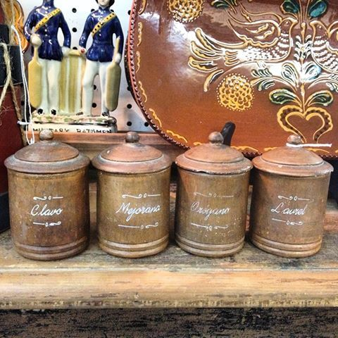 Wonderful set of French clay herb canisters.