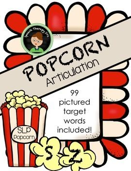 Speech therapy game for working on S, S-Blends and Z. I get lots of children in speech therapy working on these sounds and this is one of their favorite games to play in speech! To play: Use a plastic popcorn container (can be found in many dollar stores) and throw in all the target word popcorn as well as a few POP!