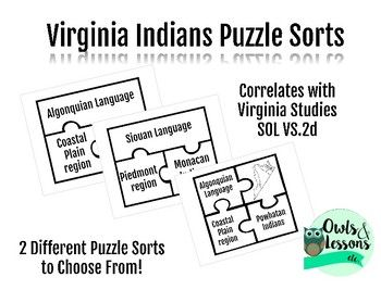 This activity correlates to Virginia SOLs for 4th grade Virginia Studies VS.2d These puzzle sorts can be used in many different ways. It's confusing for students to remember which Virginia tribe spoke what language, and where they lived... these sorts are a great tool for