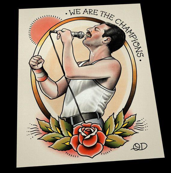 Freddie Mercury Tattoo Flash Art Print by ParlorTattooPrints