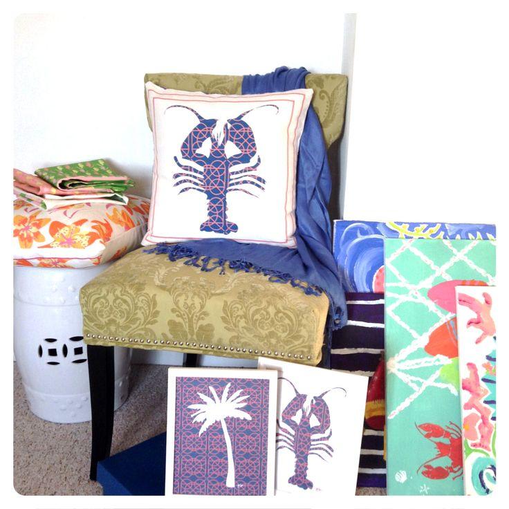 Lobster / palm tree/ throw pillow / art prints / coastal style / nautical / beach / summer / home