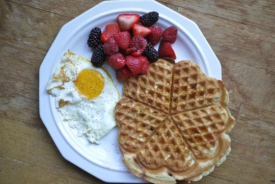 Breakfast for Dinner: Zucchini Corn Waffles   One Hungry Mama